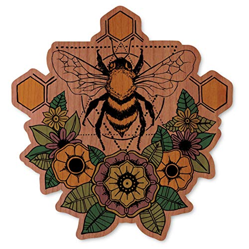Flower Wood Skin - Dust City Wood Stickers Geometric Bee with Flowers (Cherry)
