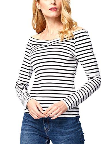 Kate Kasin Off Shoulder Womens Long Sleeve Stripe T-Shirt Base Layer (S,Stripe (Strip Tank)