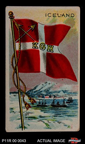 1911 Flags of All Nations T59 # 66 Iceland (Card) (Big Run Back) Dean's Cards 3 - VG - 66 3 Run