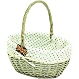 east2eden Driftwood Willow Wicker Traditional Shopping Easter Basket with Grey Polka Dot Liner in Choice of Sizes (Medium) by east2eden