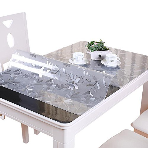 Frosted Glass Top (VALLEY TREE 1.5mm Clear Table Cover Protector PVC Desk Pad Soft Glass Dining Tablecloth Transparent Top Cover Heavy Duty Plastic Mat for Home/Kitchen/Office)