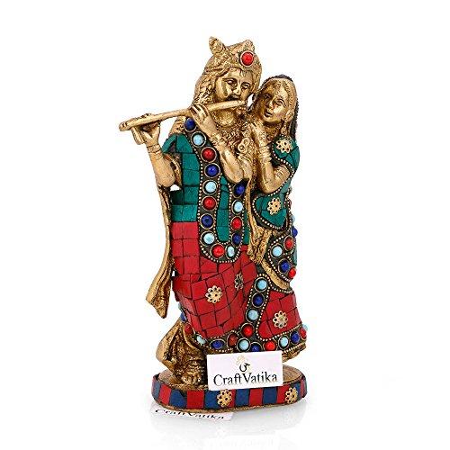 CraftVatika Brass Radha Krishna Statue Beautiful Hindu Divine Love Couple Sculpture Home Décor Gift by CraftVatika (Image #2)