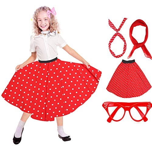 Beelittle 50's Costume Accessories Set Girl Vintage Polka Dot Skirt Scarf Headband Cat Eye Glasses 50s Kid Costume (B-Red) -