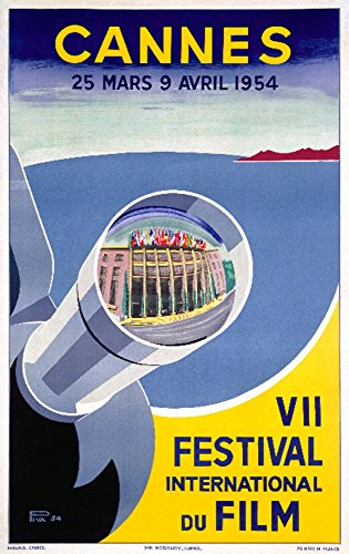 Cannes - VII Festival International du Film (artist: Piva) France c. 1954 - Vintage Advertisement (12x18 SIGNED Print Master Art Print w/ Certificate of Authenticity - Wall Decor Travel - Is What L Shipping Int Standard