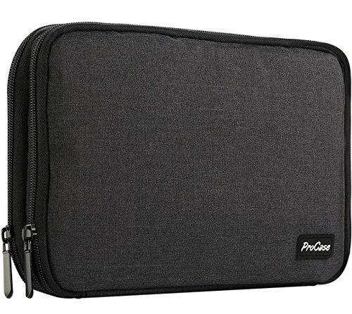 ProCase Travel Gadget Organizer Bag, Portable Tech Gear Electronics Accessories Storage Carrying Pouch for Cords USB Cables SD Cards MP3 Player Hard Drive Power Bank -Black (Portable Gadget)