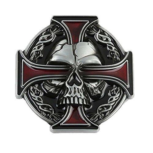[MASOP Hot Keltic Skull Head Cross Metal Men Vintage Retro Cowboy Belt Buckle] (Skull Buckle Metal)