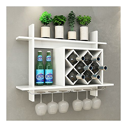 Wall Mount Wine Rack w/Glass Holder & Storage Shelf Organizer Home Decor White