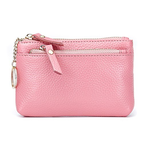 Fmeida Coin Purse Triple Zipper Wallet with Keychain Credit Card Holder for Girls(Pink)