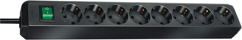 Brennenstuhl 1159300018 Eco-Line regleta de enchufes con 8 Tomas de Corriente (Interruptor, protección Infantil), 230 V, Negro, 3 m