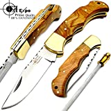 "Olive Wood 6.5"" Handmade Stainless Steel Folding Pocket Knife Brass Bloster With Back Lock 100% Top Quality For Sale"