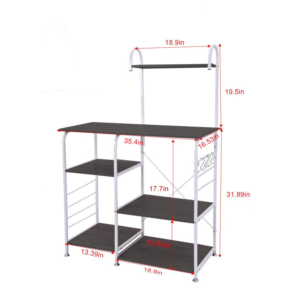 Black vmree Utility Storage Shelf 35.4 inches Baker Racks Microwave Stand 4-Tier+3-Tier Shelf for Spice Rack Organizer Workstation Kitchen Bakers Rack