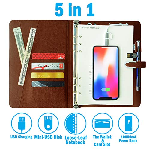 (Business Portfolio,Filofax Notebook,Reporters Notebook,Field Notebook, Refillable Notebook,Business Notebook,Multi-Function Notebook with 16G Flash Disk and 10000MA Power Bank(6.4