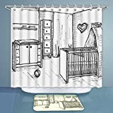 Cot with Changing Table 3D Print Shower Curtains and Bath Rugs Set Child S Room in A Sketch Style Nursery Cots Changing Table Illustration Bath Curtains and Doormats Suit for Bathroom 60