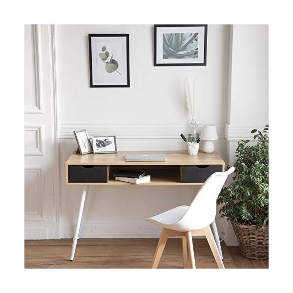 Happy Garden Bureau scandinave Bois, tiroirs Noirs Bjorn