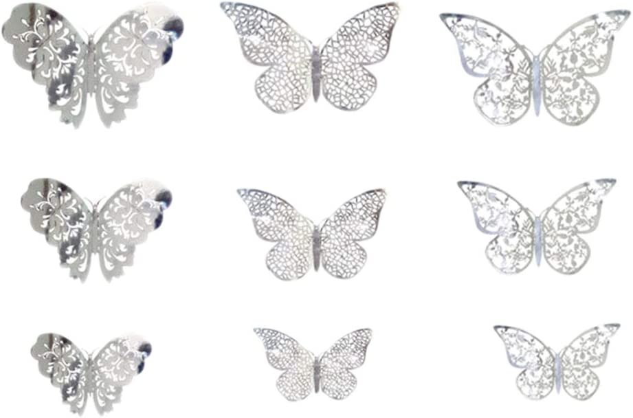 Silver 72pcs 3D Butterfly Wall Stickers Hollow Metallic Wall Decal for Bedroom Living Room Decoration