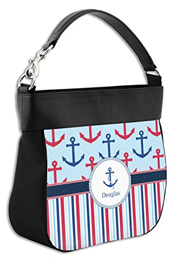 Purse Anchors Stripes amp; Personalized Genuine w Front Trim Hobo Leather Crrtwq