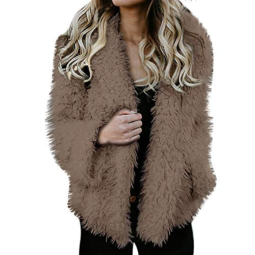 YKARITIANNA Women Tops, Solid Soft Fleece Ladies Warm Faux Fur Coat Jacket Winter Open Front Parka Hooded Outerwear