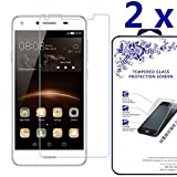 [2-Pack] Huawei Y5 2017 / Huawei Y5II ,Naocdexd HDTempered Glass Screen Protector with [No bubbles] [2.5D Rounded Edge] [Easy to Install] for Huawei Y5 2017 / Huawei Y5II