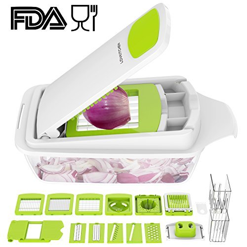 - Vegetable Chopper Dicer Slicer Cutter Manual/Vegetable Grater with 11 Interchangeable Blades - LOVKITCHEN Multi-functional Adjustable Vegetable & Fruit Chopper Dicer with Storage Container