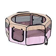 PawHut Folding Portable Pet Playpen Soft Dog Cat Exercise Pen Soft Kennel Crate (37-inch)