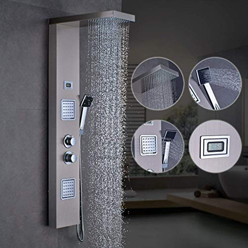 (LIBINA - bathroom Shower Column Panel Complete with Thermostatic Mixer, Fixed Head, Thermostatic Shower Column Mixers for Bathroom)