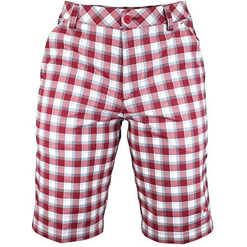 PUMA Golf NA Men's Plaid Tech Shorts, Biking Red/Scuba Blue, 30