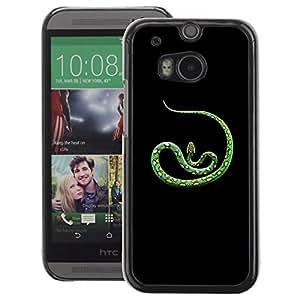 A-type Arte & diseño plástico duro Fundas Cover Cubre Hard Case Cover para HTC One M8 (Green Nature Tropic Animal Snake Spots)