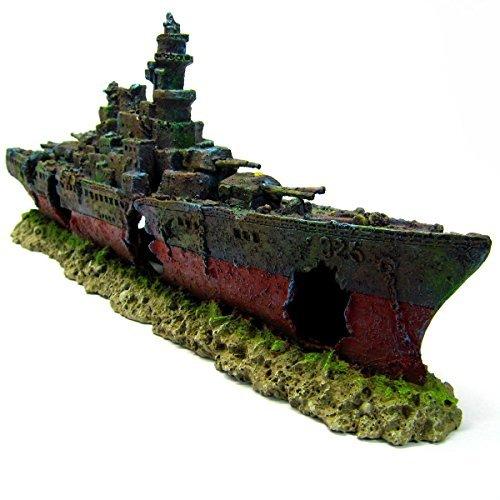 Warship Cave Aquarium Ornament L 49cm - NAVY Battleship ship decor Shipwreck PET by Aquarium Equip - Aquarium Shipwreck Decorations