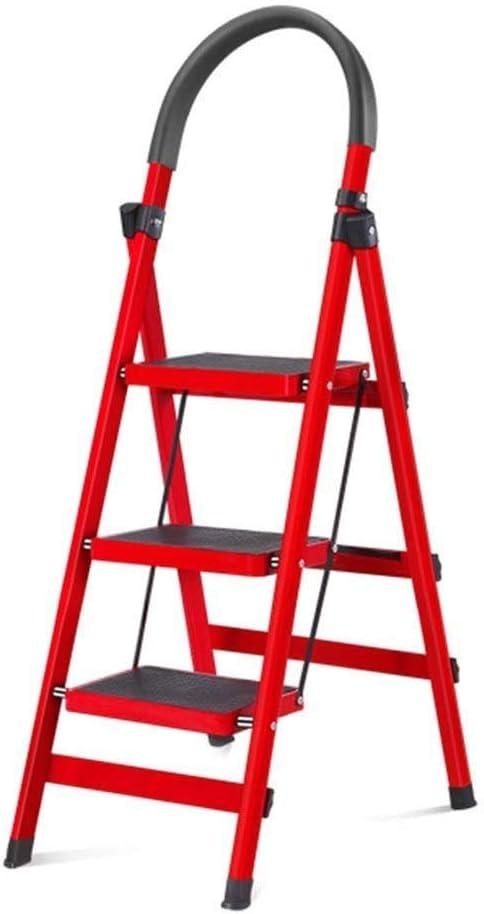 CMmin Taburete Plegable con 3 escaleras Escalera con empuñadura Antideslizante Pedal Robusto y Ancho Multiuso for el hogar y la Oficina Taburete portátil con Patas Antideslizantes: Amazon.es: Hogar