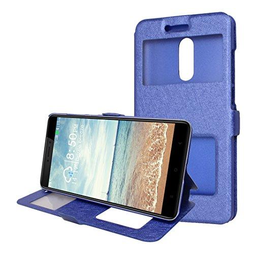 Xiaomi Redmi Note 4X Funda Libro, Xiaomi Redmi Note 4 Flip Case Cover, Moon mood PU Cuero Cubierta Piel con Tapas Interior Dura PC Parachoque para Xiaomi Redmi Note 4X / Note 4 5.5 pulgada a Prueba de Azul