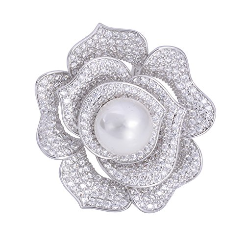 Pave Flower - OBONNIE Sparking Micro Pave Layered Petal Pearl Camellia Rose Flower Brooch Pin Wedding Bridal Jewelry (Rose)