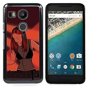 "Qstar Arte & diseño plástico duro Fundas Cover Cubre Hard Case Cover para LG GOOGLE NEXUS 5X H790 (Pintura Dj Mujer atractiva muchacha Redhead Jengibre Arte"")"