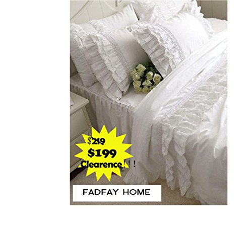 - FADFAY Home Textile,Hight Quality 100% Cotton White Ruffle Bedding Sets,Beautiful Snow White Ruffled Lace Duvet Cover Bedding Sets