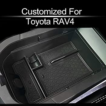 and Console Liner Accessories for Toyota Rav4 2019 2020 13PC Set Carbon Fiber Pattern - Black Door JIECHEN Custom Fit Cup