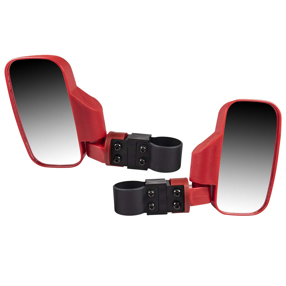 8TEN Red Offroad Break-Away Side View Mirror Set for UTV Side x Side Utility Vehicle w/ 1.75' & 2' Roll Cage Bar High Impact Large Wide View