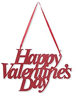 Creative Converting Happy Valentine's Day Die-Cut Glitter Sign with Ribbon Hanger, Red