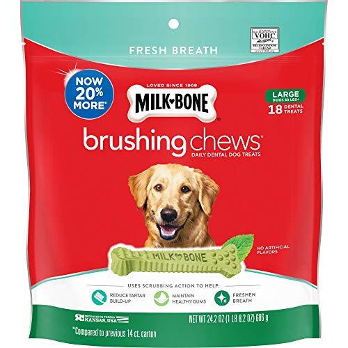 Milk-Bone Brushing Chews Daily Dental Dog Treats, Fresh Breath, Large, 24.2 Ounce Pouch
