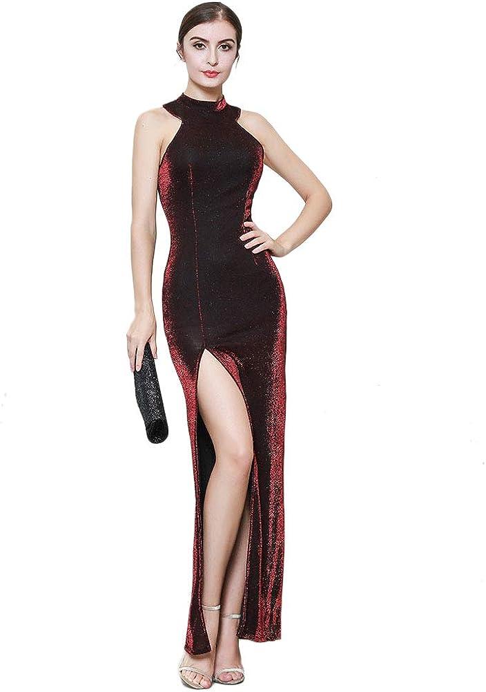 ROYAL SMEELA Evening Party Dress Women Bodycon Sleeveless Long Gown Dress Elegant Cocktail Slit Dresses Solid Color Invisible Zipper Off Shoulder Dresses Formal Gala Maxi Dress