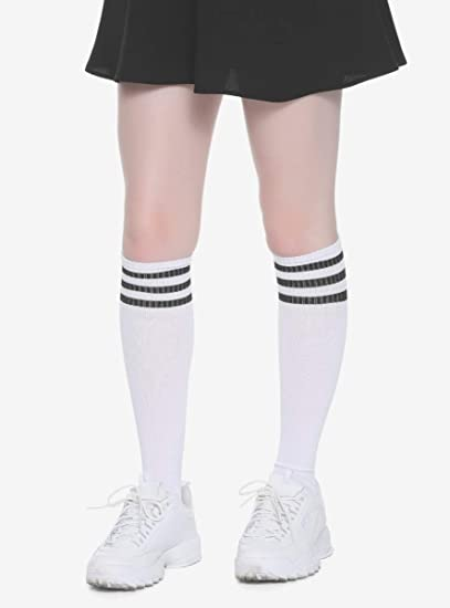 45704307ca0 Image Unavailable. Image not available for. Color  White   Black Varsity  Stripe Knee-High Socks