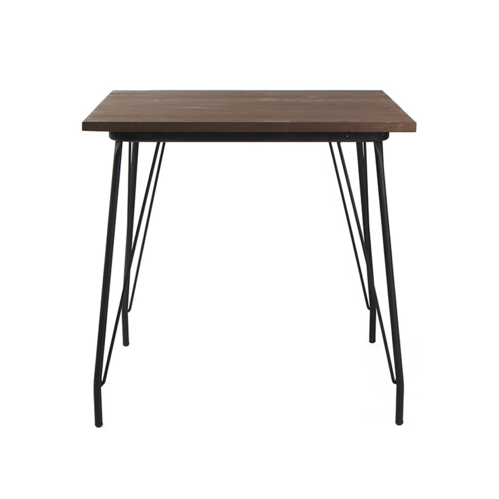 VH FURNITURE Metal Dining Table with Elm Wood Top, Black