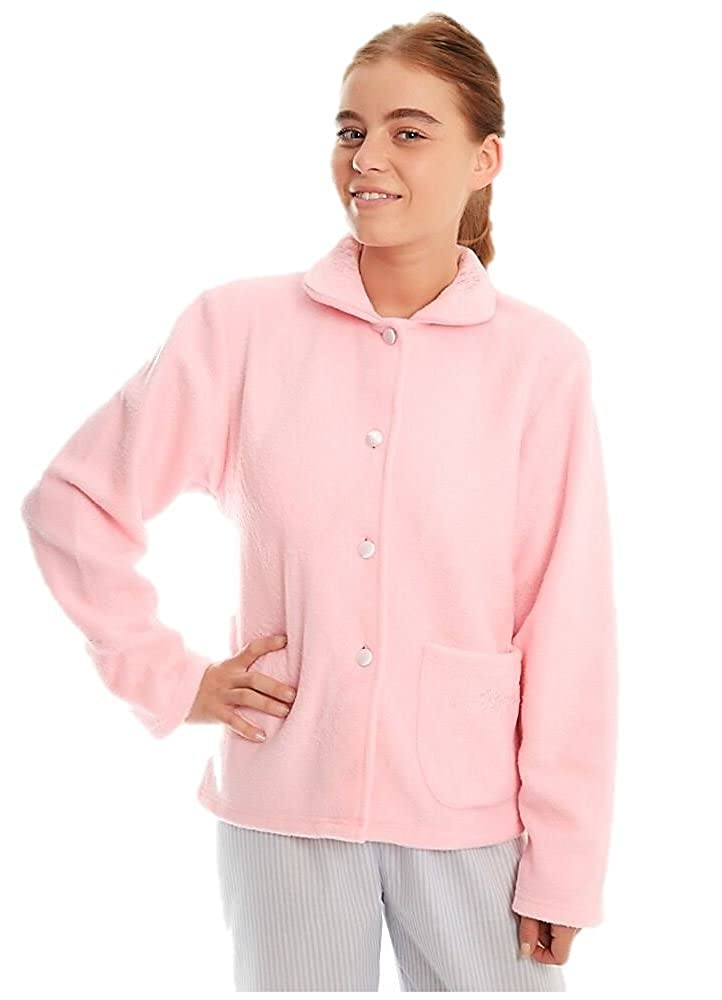 ladies fleece bedjacket traditional button nightwear housecoat lady olga