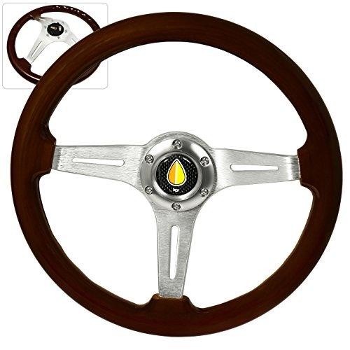 Fukushi Horn Button + 345MM 6-Bolt 2 Inch Deep Dish Dark Wood Grain Chrome Aluminum Luxury Streak Style Upgrade Replacement Steering Wheel