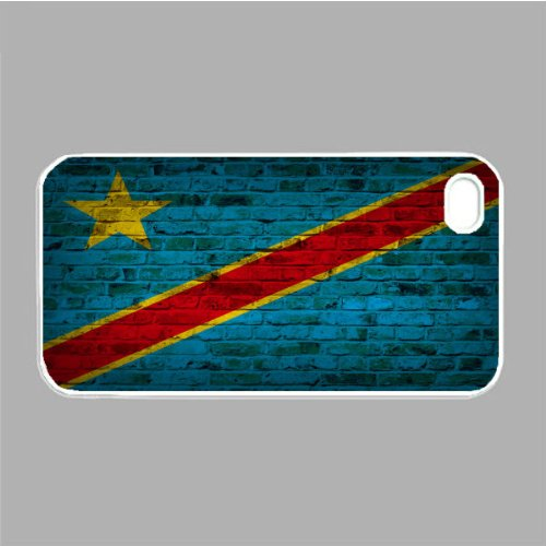 Congo Kinshasa Flag Brick Wall iPhone 4s White Case ()