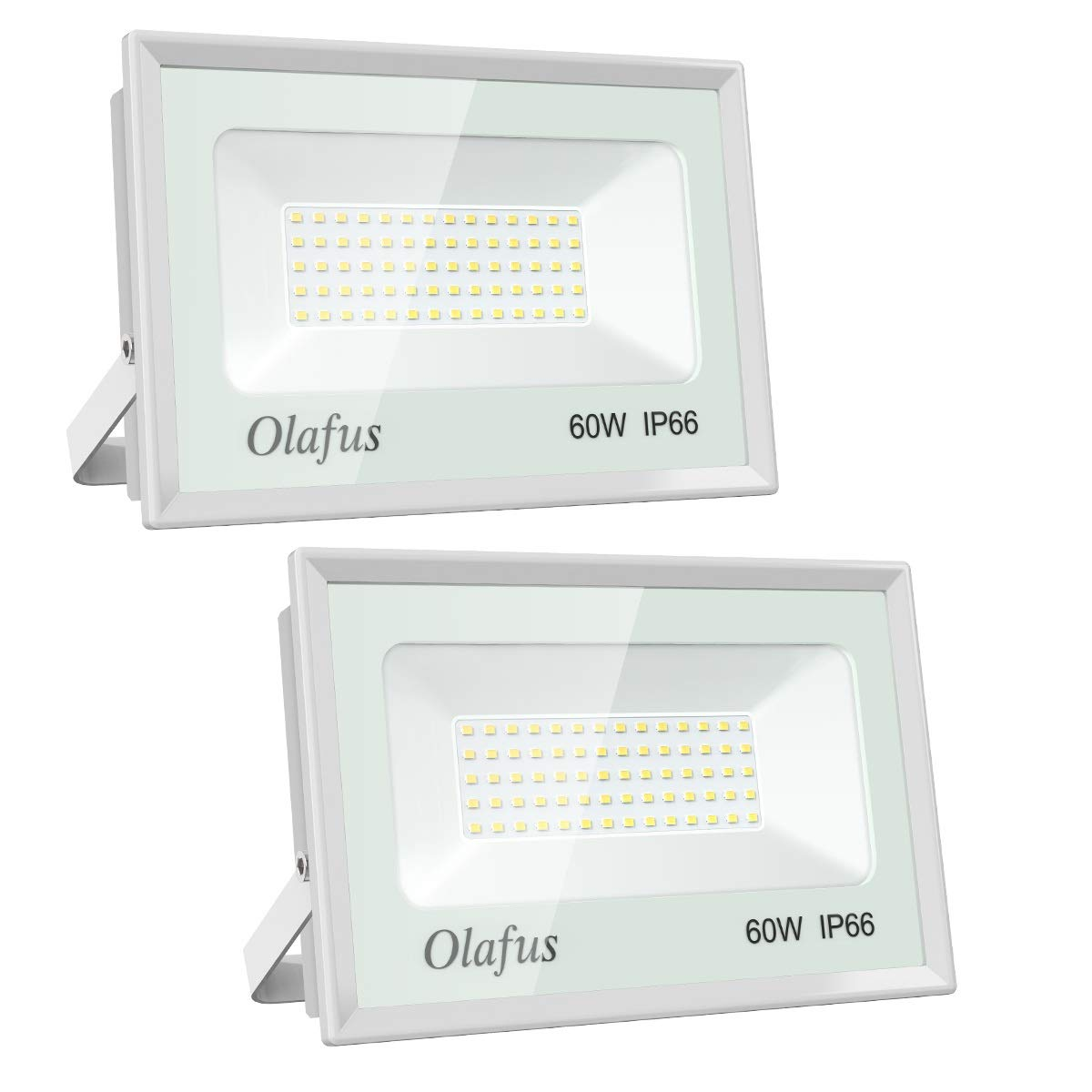 Olafus 2 Pack 60W LED Flood Light, 6600LM, 300W Halogen Blub Equivalent IP66 Waterproof Outdoor Floodlights Ultra Bright for Playground, Entryway, Yard, Basement 5000K Daylight White