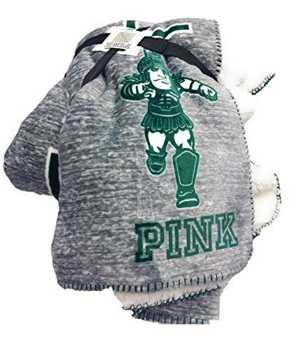 Victoria's Secret Pink Sherpa Throw Blanket Soft Fleece Michigan State University Spartans MSU