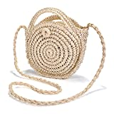 Summer Straw Bag, JOSEKO Women Straw Shoulder Bag Light Cross body Bag Phone Bag for Travel and Everyday Use Beige 8.27'' x 8.27''