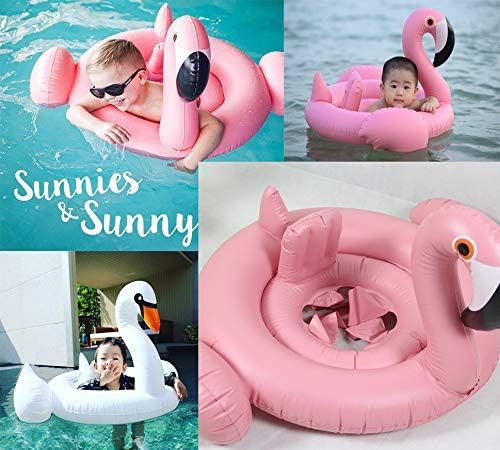 Swan Sohapy Baby Flamingo Pool Float with Safety Inflatable Seat Children Infant Boat Swimming Pool Float Summer Fun Outdoor Pool Toys Float Raft for 8 Months-4 Years Pink