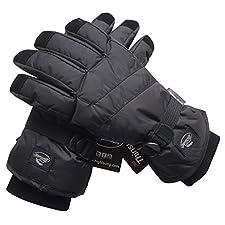 Black Men Waterproof Thinsulate Winter Cold Weather Ski Snowboard Gloves