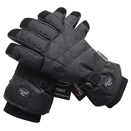 Black Men Waterproof Thinsulate Winter Cold Weather Ski Snowboard Gloves (L)