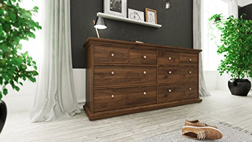 Tvilum 70307dj Sonoma 8 Drawer Double Dresser, Walnut ()